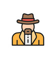 cowboys sheriff flat color line icon vector image