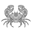 Crab zentangle icon hand drawn crab vector image vector image