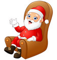cute santa claus sitting and waving hands on brown vector image