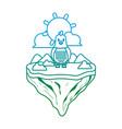 degarded line female hen animal in float island vector image vector image