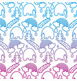 degraded line elephant with leaves and rainbow vector image vector image