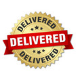 delivered round isolated gold badge vector image vector image