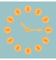 Dollar coins clock Blue background