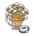 explorer enoki mushroom mascot cartoon vector image vector image