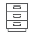 filling cabinet line icon office and organize vector image