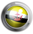 flag of brunei on round frame vector image vector image
