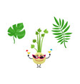 flat summer tropical leaves celery icon vector image