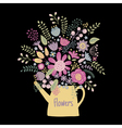 flower kettle on a dark background vector image vector image