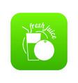 fresh juice icon green vector image vector image