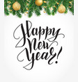 happy new year card with fir tree garland vector image vector image