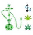 hookah mosaic of weed leaves vector image