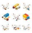 isometric air logistics elements collection vector image vector image