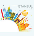 istanbul turkey city skyline with color buildings vector image vector image