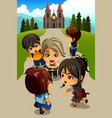 kids going to church vector image vector image
