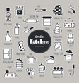kitchen hand drawn doodle icons set vector image vector image
