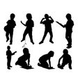 Leisure child set silhouettes vector image vector image