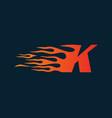 letter k flame logo speed logo design concept vector image
