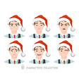 men in santa hat with different emotions vector image vector image