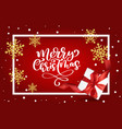merry christmas lettering red background vector image