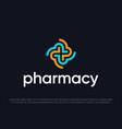 modern professional logo cross in pharmacy vector image