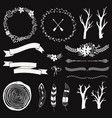 monochrome decoration set with arrows feathers vector image vector image