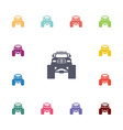 monster car flat icons set vector image