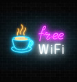 neon cafe signboard with free wifi zone hot vector image
