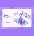 online shoppinglanding page with people or buyers vector image vector image