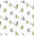 pattern of 6 fanny birds in different hats vector image vector image