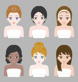 pretty girl in various nationality and hair design vector image