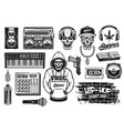 rap and hip hop music attributes objects vector image vector image