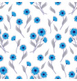 seamless pattern with blue flowers on white vector image
