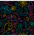 Seamless Pattern with Halloween cartoons vector image vector image