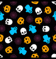 seamless pattern with pumpkin ghosts skeleton and vector image