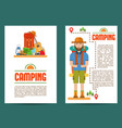 set camping cards vector image vector image