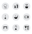 set of 9 editable kitchen icons includes symbols vector image vector image