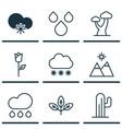 Set of 9 landscape icons includes rain love