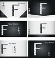 set of black and silver business card with letter vector image