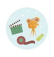 set of cartoon cinema icons vector image vector image