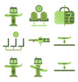 set of flat icons in shading style airport service vector image vector image