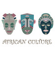 set of three traditional african masks vector image vector image