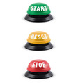 start stop reset round buttons 3d vector image