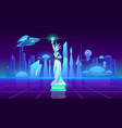 statue liberty neon city futuristi background vector image vector image