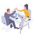 teamwork successful high five together vector image vector image