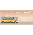 Time to travel Flat yellow bus goes on the highway vector image