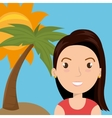 woman palm sun travel vector image vector image