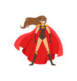 woman superhero in classic comics costume with red vector image vector image