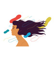 woman with long hair style and eyes closed vector image