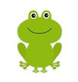 Cute green cartoon frog vector image