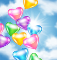 Balloons in shape of heart in the sky vector image vector image